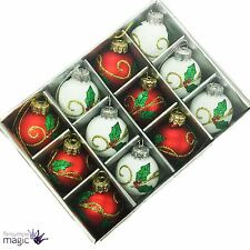 *Gisela Graham Christmas Red White Mini Holly Glass Ball Box of 12 Decorations*