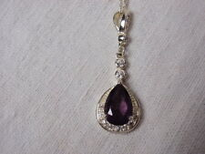 "Thin 18"" Chain Necklace Amethyst Rhinestone Pendant Roman Company Silver Plate"