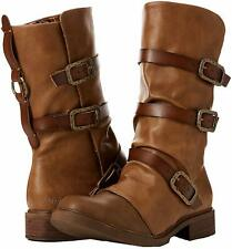 New Blowfish Vic Biker Boots 5 UK 38 EU 7.5 US Brown Alamo Calf Length Buckles