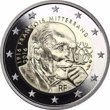 FRANCE 2 euro Francois Mitterrand 2016 pièce commémorative en plaque polie en étui