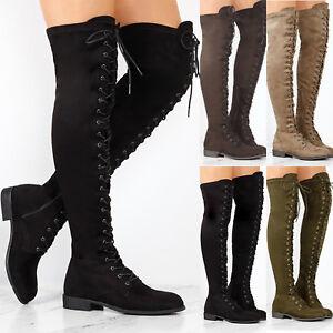 Women Winter Thigh High Boots Lace Up Over Knee Flat Booties Zipper Combat Shoes