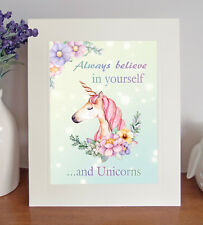 UNICORN 'Always believe in yourself' 8 x 10 Picture Fun Print Novelty Gift Idea