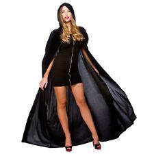 Negro Largo Capa con Capucha 140cm Terciopelo Lujo Viuda Brujas Disfraz