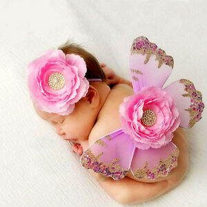Baby Butterfly Wings & Headband Set - Pink - Photo Props