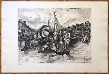 Cardin Annie gravure signée Egreveville Four-à-chaux la plage les enfants