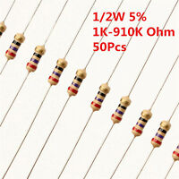 50Pcs 1/2W 0.5W Carbon Film Resistor ±5% 1K -910K Ω Ohm 1 K - 910 K