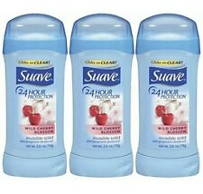 3 Pack Suave 24 Hour Protection Invisible Solid Deodorant Wild Cherry Blossom