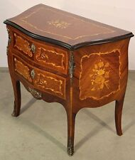 French antique rosewood 2 drawer bedside hallway chest inlaid marquetry rococo
