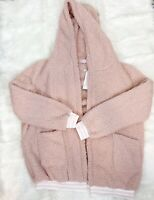 WOMEN'S C+D+M PINK COZY FLEECE OPEN FRONT LONG SLEEVE HOODED JACKET SZ SMALL NEW