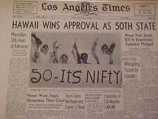 VINTAGE NEWSPAPER HEADLINE ~PRESIDENT EISENHOWER STATEHOOD HAWAII 50th STATE~