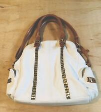 Big Buddha White Faux Leather Tote Shoulder Bag/Purse Boho Gold Accent Fast Ship