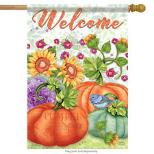 "Pumpkin Harvest Fall Welcome Garden Flag Floral Holiday 2 Sided  28"" x 40"""
