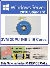 Factory Sealed Windows Server 2016 Standard 2CPU DVD & COA + 50 DEVICE CALs