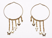 ROCK CHIC STYLE GOLD METAL HOOP EARRINGS WITH GOLD METAL HANGING CHARMS (ZX44)