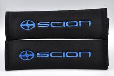 Blue on Black Pads Scion Logo xA xB tC xD iQ FR-S Embroidery Seat Belt Cover Set