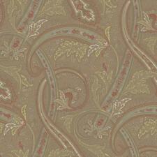 Designer Courtney Large Paisley, Green Aqua Brown Rust Beige on Tan
