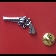 English Pewter Modern Revolver Gun Pistol Pin Badge Tie Pin / Lapel Badge - G12