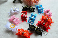New Pet Charms Lace rhinestones Dog Hair Bows Pet Dog Grooming Hair Accessories