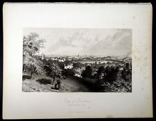 CITY OF PROVIDENCE, RI From Prospect Hill 1872 Steel Engraving ORIGINAL PRINT