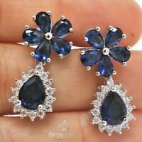 Large 3CT Pear Halo Blue Sapphire Earrings Women Jewelry 14K White Gold Plated