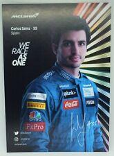 New listing 2020 Carlos Sainz McLaren F1 Driver Card Formula 1 Postcard Autograph