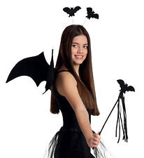 LADIES BLACK BAT COSTUME SET WINGS TUTU WAND TIARA FANCY DRESS HALLOWEEN OUTFIT