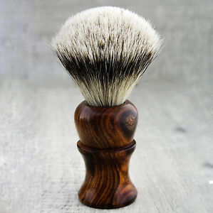 Barber Silver Tip Hair Shaving Brush in Pure Wood Handle 100% Badger Bristles