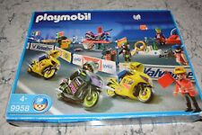 Playmobil 9958 Motorcycle Race Set w/4 Cycles, Workbench, etc., RARE, Complete!