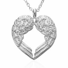 Pure 925 Sterling Silver Heart Shape Angle Wings Necklace (Pendant + Chain) #001