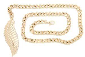 Women Leaf Charm Spring Summer Fashion Belt Hip Waist Gold Metal Chain XS S M