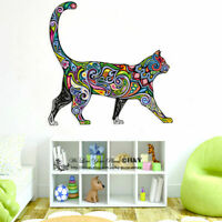Rainbow Pattern Cat Wall Stickers Kids Nursery Decor Animal Decal Art Mural