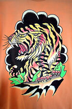 Ed Hardy Tiger Front Logo Name Back 100% Cotton Straight Cut Tee Shirt Top Sz M
