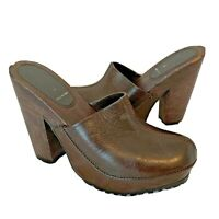 """Miu Miu Womens Size 7.5 Brown Leather Clog 5"""" Heels Shoes Closed Toe Small Flaw"""