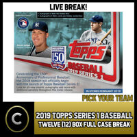 2019 TOPPS SERIES 1 BASEBALL - 12 BOX (FULL CASE) BREAK #A100 - PICK YOUR TEAM
