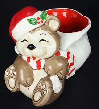 Ff Fitz & Floyd Teddy Bear Christmas Holiday Candy Dish Planter Vintage 1981