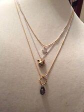 "Betsey Johnson Fox Trot"" Pave Horseshoe Multi Layer Necklace $52 #123A"