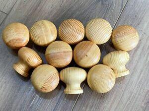Pine Knobs Large 50mm Varnished Pack 12 - Drawer Knobs, Cupboard Knobs FREE P&P