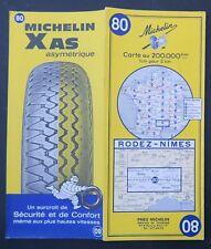 Carte MICHELIN old map n°80 RODEZ NIMES 1967 Guide Bibendum pneu tyre