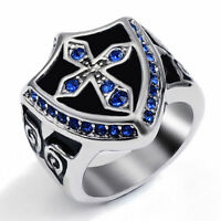 Men's Sapphire Blue/Ruby Red CZs Cross Knight Shield Stainless Steel Bike Ring