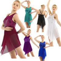 Women Ballet Dance Leotard Sequined Mesh Skirt Lyrical Dancewear Dress Costume