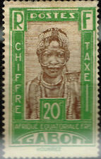 Gabon African Culture Ethnicities Colonial Tribal Woman stamp 1949 MH