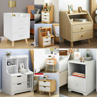 Nightstand Bedside Bedroom End Table Storage Shelf Drawers Stand Wooden Cabinet