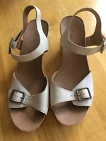 CLARKS Cream Peep Toe Buckle Strap Ladies Leather Upper Wedge Shoes UK 8 D