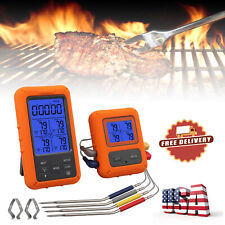 328ft Digital Wireless Remote Meat Cooking Thermometer 4 Probes f/Oven BBQ Grill