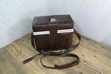Vintage Brown Pleather Fitted Camera Case Japan? With Camera And Lens Holders.