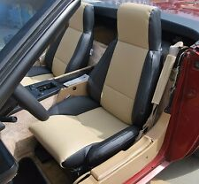 CHEVY CORVETTE C4 TYPE3 1984-1993 BLACK/BEIGE S.LEATHER CUSTOM FIT SEAT COVER