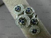3Ct Blue Sapphire & Diamond Victoria Engagement Wedding Ring 14K White Gold Over