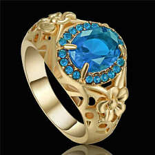 Size 8 Aquamarine Sapphire 18K yellow gold filled Wedding Fashion Womens Ring