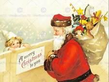 Peinture carte de noël père santa claus sack cadeaux enfants imprimé CC555