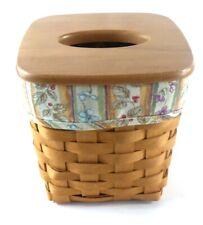 Lonaberger Tissue Holder Basket Wood Lid Cover & Fabric Liner Dated 2007